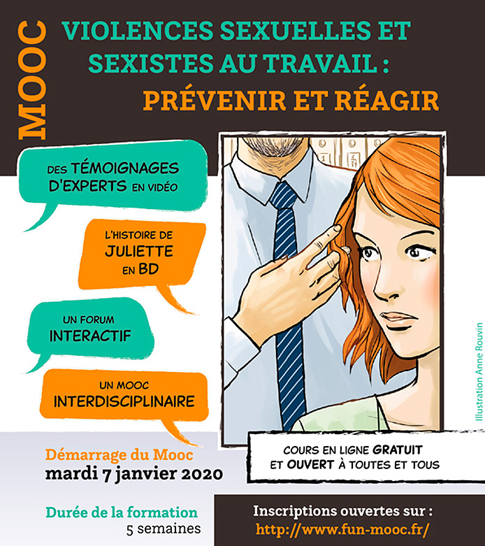Affichette MOOC : Violences sexuelles et sexistes au travail : prévenir et réagir